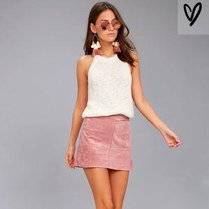 Dusty Rose Vegan Suede Skirt